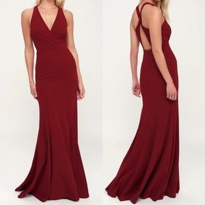 Always Be in Love Wine Red Twist-Back Maxi Dress